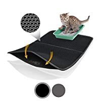 Bella & Balu XXL Cat Litter Mat with Honeycomb Design - Washable Carpet with Cat Toilet as Surface - For a Clean Apartment without Cat Litter (Black | 39 x 25 Inch)
