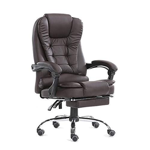 Hocker XUERUI Lehnstühle Drehstuhl Leder Executive Computer-Schreibtisch-Stuhl Höhenverstellbar Ergonomisch Liege Mit Lendenkissen Gepolstert Fußstütze Möbel (Farbe : Brown) -