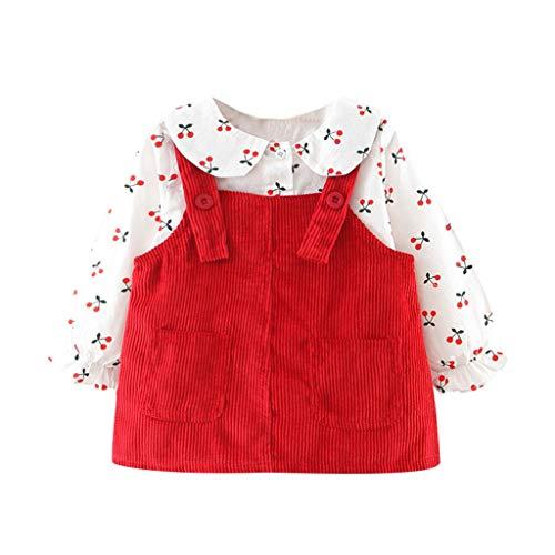 Alwayswin Neugeborenes Baby Mädchen Langarm Kleid T-Shirt Tops + Trägerkleid Party Prinzessin Kleid Outfits Kinder Mode Süß Kleid Dot Print Hosenträger Röcke Sets Kinderbekleidung