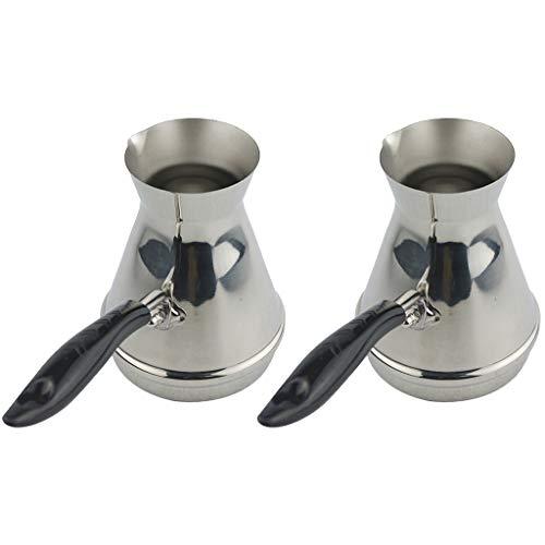 P prettyia 2 pezzi turco caffettiera caffè decanter espresso scaldabiberon cezve, acciaio inox scaldino latte, 350ml
