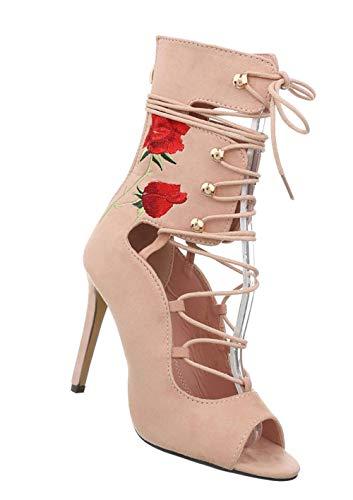 Damen Pumps | sexy High Heels | Stiletto Sandalette | Party Peep Toes | Schürsandalette auffallend | Fashion Partypumps | Designer Abendschuhe | Altrosa 37
