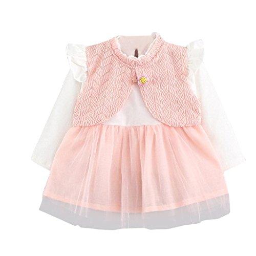 aby Kind Mädchen Langarm Gestrickte Bogen Neugeborenen Tutu Prinzessin Kleid 0-24 Monate (6-12 Monate, B-C-Pink) (Kind Indianer Prinzessin Halloween Kostüm)