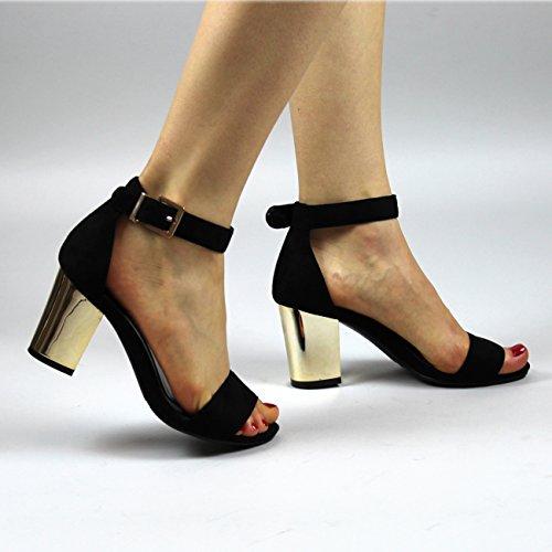 Donna Quasi Lì Ghilie Mirror Tacco Ritagliare Cinturino Alla Caviglia Sandali Nero