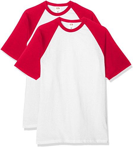 Fruit of the Loom Herren T-Shirt Baseball T, 2er Pack Mehrfarbig (white/red)
