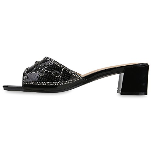 Damen Sandaletten Mules Strass Lack Schuhe Pantoletten Schwarz