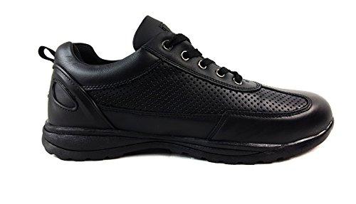 Scarpe di sicurezza da uomo, stivali da lavoro con punta in acciaio, stivali alla caviglia, per escursioni, Pelle, Black, UK10 / EUR 44 Black