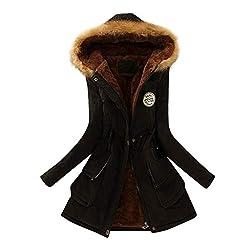 JURTEE Damen Winterjacke,Wintermantel Lange Daunenjacke Jacke Outwear Winter Warm Trenchcoat mit Abnehmbarer Pelzkragen Parka Outwear Mäntel(Large,Schwarz)