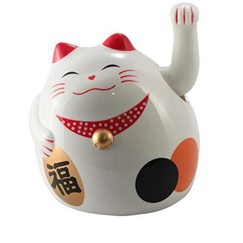 Freak Scene Agitando Gato Chino - Maneki Neko - Redondo Gato - 11 cm - Blanco
