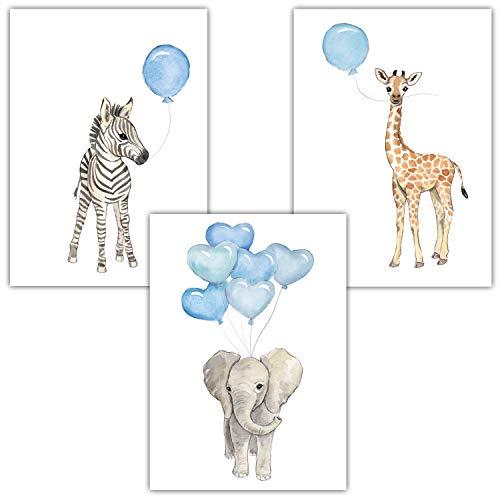 Frechdax® 3er Set Kinderzimmer Poster Baby Bilder DIN A4 | Waldtiere Safari Afrika Tiere Tierposter Luftballon Ballon Farbwahl (3er Set Blau, Elefant, Giraffe, Zebra)
