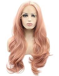 Arimika Wig - Perruque ondulée de 66cm de long - Rose - Résistant à la chaleur - Cheveux synthétiques - Voilette en dentelle - Perruque invisible - Pour cuir chevelu blanc ou pâle
