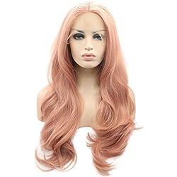 Peluca de Arimika Wig de 60 cm de largo, pelo sintético ondulado a capas, rosa, resistente al calor, con frente de encaje, para cuero cabelludo blanco o pálido