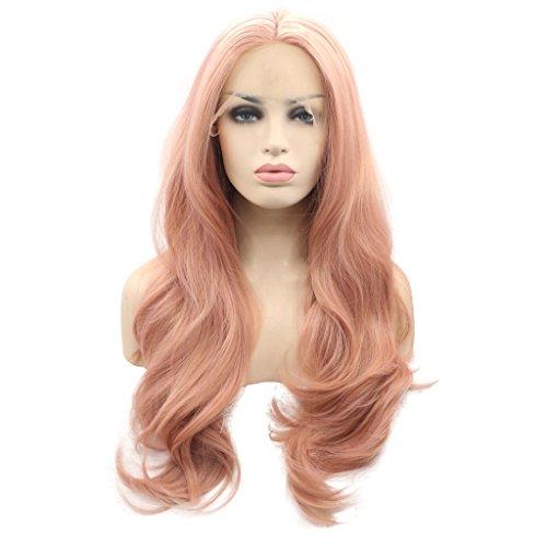 Arimika Wig 66 cm langes gewelltes Kunsthaar, pinke Schichten, hitzebeständig, Vorderseite aus einem Netz, Perücken mit einem dezenten transparenten Netz für weiße oder helle Kopfhaut Peach Pink Lace