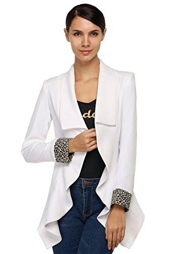 ZEARO Nouvelle Mode Blazer Femme Longue Mi saison Haut Tailleur Chic Mince Manches Longues Imprimées Veste Ourlet Asymétrique Blanc