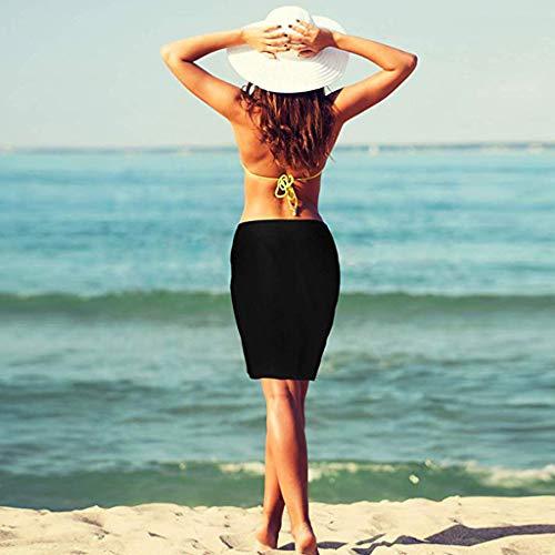 Junjie 2 Stück Frauen solide Strand Wickeln Sarong vertuschen Chiffon Badeanzug Wickelröcke schulterfrei mädchen langes Knielang Spitzenkleider Rosa, blau, hellblau, rot, weiß (Badeanzug Sarong Vertuschen)