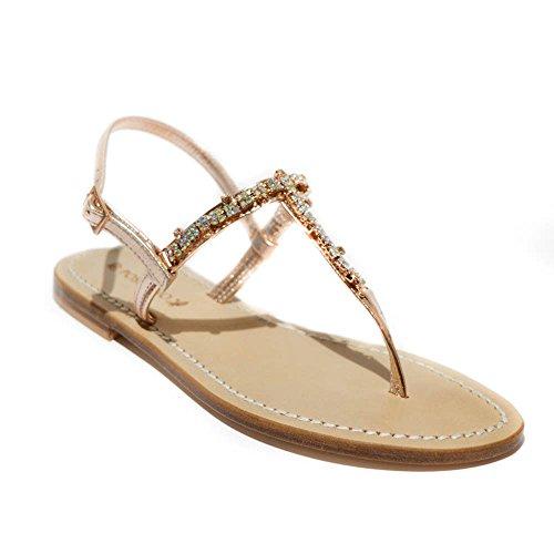 DG Positano sandalo gioiello donna pelle beige rame made in italy t.1cm art.4...