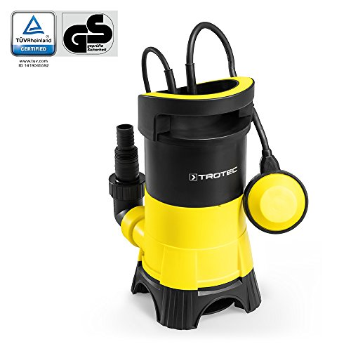 TROTEC TWP 4025 E Schmutzwasser Klarwasser Tauchpumpe, 400 Watt Leistung, bis zu 7.500 Liter Wasser (max. 5 m Tiefe) , Fremdkörper bis 25 mm, Automatisches Ein- und Ausschalten