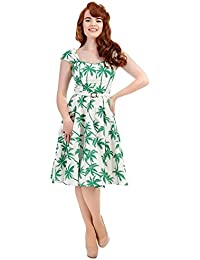 932d3bb8bfd Collectif Vintage Women s Sandra Car Print Swing Dress White Green