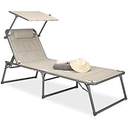 Relaxdays 10020103 Chaise longue pliable pare-soleil transat rembourré HxlxP 37 x 70 x 200 cm parasol cadre aluminium HxlxP: 37 x 70 x 200 cm, beige