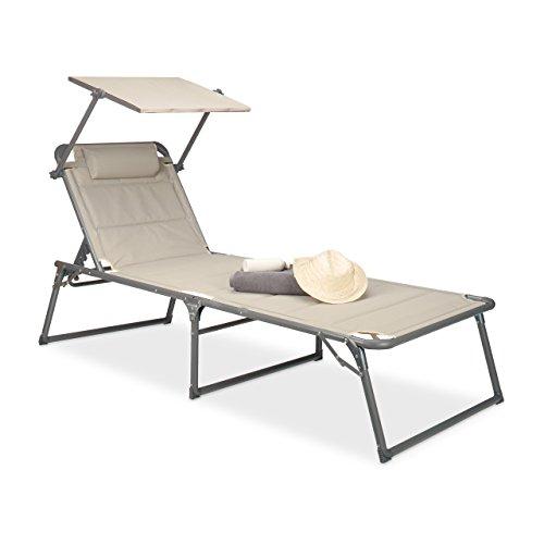Relaxdays Gartenliege klappbar, Sonnenliege Dach, Deckchair, Sonnenschutz, verstellbar, HBT: 37 x 70 x 200 cm, beige