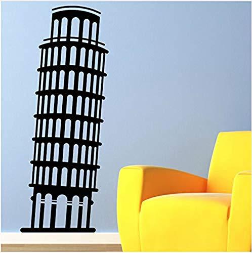 Selbstklebender Wandaufkleberwall Sticker Mural Leaning Tower Of Pisa Wall Sticker Italy Building Landmark Vinyl Wall Mural Living Room Home Decor 44Cm X 100Cm