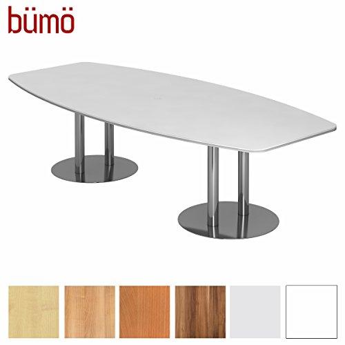 Bümö Konferenztisch rund oval 280 x 130 in Weiß | Besprechungstisch mit Chromsäulen |...