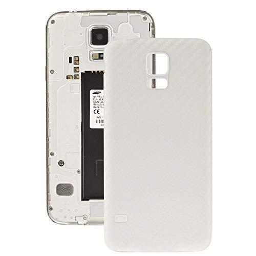 YICHAOYA Carbon Fiber Texture Plating Kunststoff Back Cover Ersatz for Samsung Galaxy S5 (stark und robust) Stoßfest und Kratzfest Back Cover for Galaxy S5 / G900 (schwarz) (Farbe : Weiß) (Cover-ersatz Back S5 Galaxy)