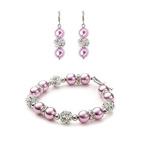 Bracelet Blue Pearls - Parure Bracelet et Boucles d'oreilles en Perles