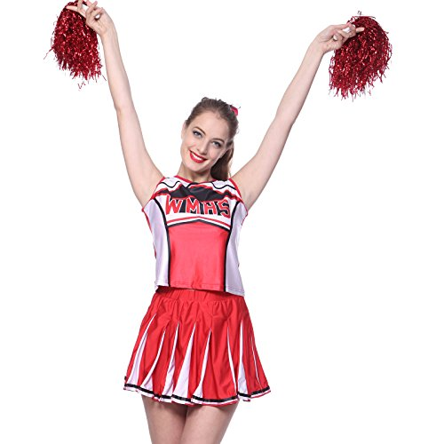 Kostuem Uniform Cheerleading Cheer Leader Pompon Minirock GOGO Karneval Fasching (Rote Cheerleading Uniformen)