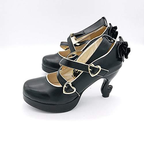 PINGXIANNV Strana tacco altoLolita scarpe fibbia benda con scarpe da cameriera sexy piattaforma donne tacchi alti,38