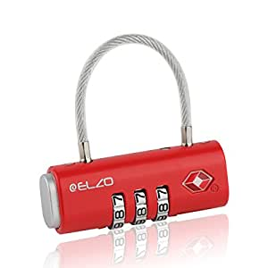 Elzo TSA Zugelassene Gepäckschlösser, Reiseschlösser Zahlenschloss Kofferschloss Kabelschloss mit 3-stelligen Zahlencode für Koffer, Gepäck und Sporttasche (Rot)