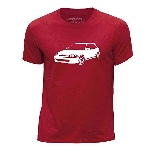 STUFF4 Jungen/Alter 12-14 (152-164cm)/Rot/Rundhals T-Shirt/Schablone Auto-Kunst / Civic EK9