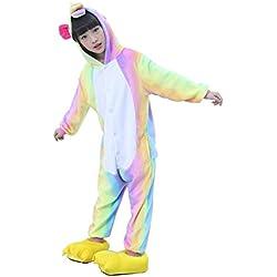 Semia Niño Unicornio Pijamas Niña Unisex Monos Ropa de Dormir Disfraz de Animal Cosplay Traje Disfraz Carnaval Halloween Navidad Pijamas de Una Pieza Invierno (120-130CM, Vistoso)