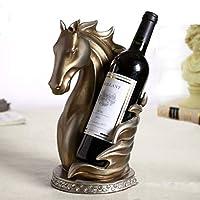 YJWKR Sculpture decoration Abstract Horse Head Wine Bottle Holder Ornamental Resin Creative Sculpture Wine Rack Barware Decor Craft Accessories Supplies