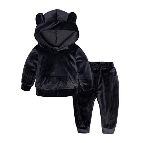 BaZhaHei Toddler Kid Baby Girls Boys Long Sleeve Solid Hoodie Tops+Pants  Outfits Clothes 3fd3879e6cd