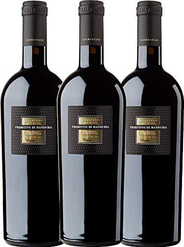 3er Weinpaket Italien - Sessantanni Primitivo di Manduria 2015 - Cantine San Marzano mit VINELLO.weinausgießer | halbtrockener Rotwein | italienischer Rotwein aus Apulien | 3 x 0,75 Liter