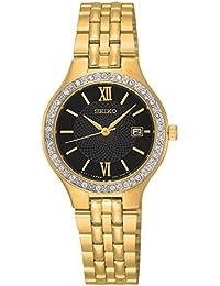 Seiko sur754Mujer Acero Inoxidable Pulsera De Oro Banda Esfera de color negro reloj
