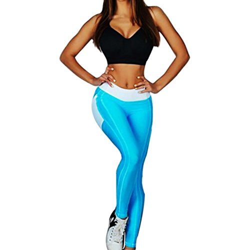 Yoga Hosen Damen, DoraMe Frauen Geometrische Spleißen Herzförmige Sport Hose Dünn Yoga Leggings Hohe Taille Gummizug Fitness Hose (S, Blau)
