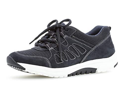 Gabor Damen Low-Top Sneaker 26.995.46, Frauen Halbschuh,Sportschuh,Schnürschuh,atmungsaktiv,Nightblue,38 EU / 5 UK Soft-style-schuhe