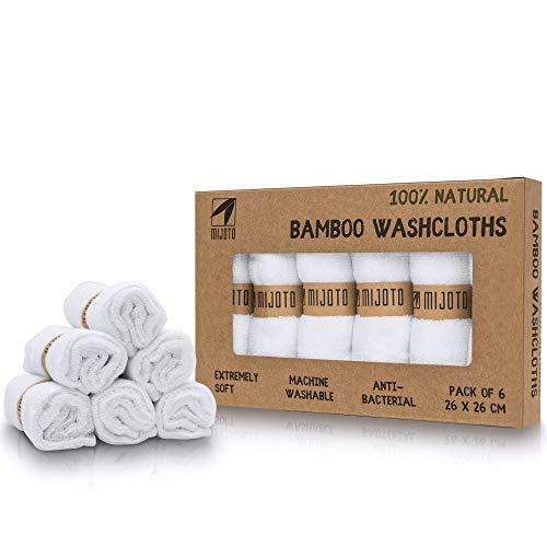 MIJOTO 100% Bambus Mikrofaser Reinigungstücher (6er Set) - besonders weiches Gesichtsreinigungstuch - waschbar, hypoallergen & antibakteriell - für die schonende Gesichtsreinigung - weiß - 25x25cm