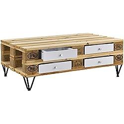 [en.casa]® Cajón elegante y original para europalé - se adapta perfectamente - DIY - blanco (9,5cm x 37,5cm x 44,5 cm)