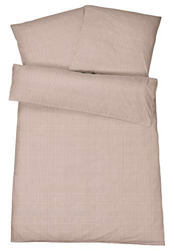 Luxuriöse Mako-Brokat Damast-Bettwäsche in exklusiver Hotel-Qualität 135 x 200 cm Nougat Braun aus 100 % gekämmter Baumwolle – Hotel-Bettwäsche Set mit Kopfkissen-Bezug und edlen Fein-Streifen
