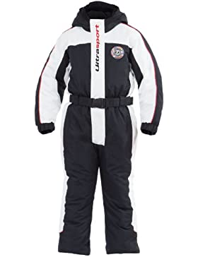Ultrasport Lech - Mono infantil para nieve, color negro / blanco / rojo, talla 116-122