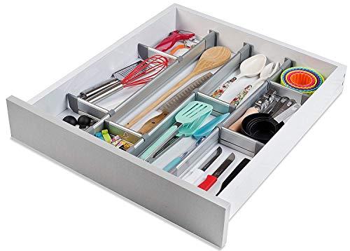 Practical Comfort Verstellbarer Schubladen-Organizer Küche, eleganter  modularer Schubladeneinsatz aus Aluminium - Set aus 6 Trennelementen ...