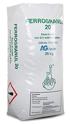 A&G-heute 25kg Eisendünger Rasendünger Ferrogranul 20 für ca. 1000m² Rasenfläche für sattes Grün