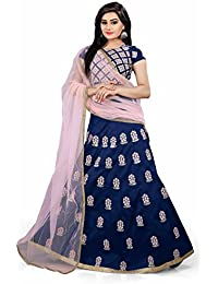 Shree Rang Creation Women's Blue Embroidered Taffeta Silk Lehenga Choli(AFL-08_Blue_Free Size)