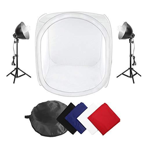 MVPower® Fotostudio Set, inklusive Fotozelt/Lichtwürfel (80x80x80cm) mit Fotolampen (2x135W) + 4 Hintergrundstoffen (schwarz/weiss/blau/rot)