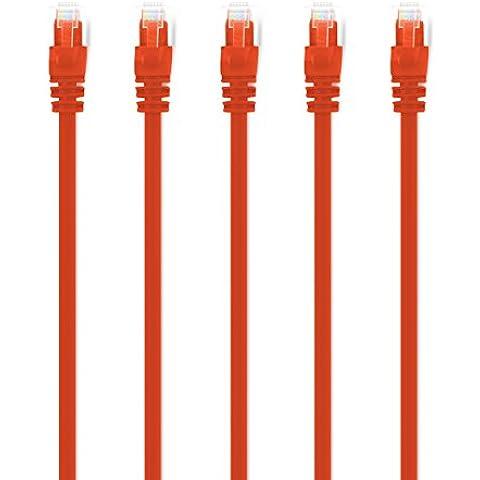 (5-Pezzi) 0.6m Cavo di rete Cat6, CAT.6 Ethernet Gigabit Lan, GearIt Cat 6 con connettori RJ45 Antigroviglio Cavo patch UTP 10/100/1000Mbit/s compatibile CAT7 con CAT5 CAT5e (Switch, Router, Modem, Patchpannel, Access Point, campi patch) Arancione - Awg Arancione Stranded Wire