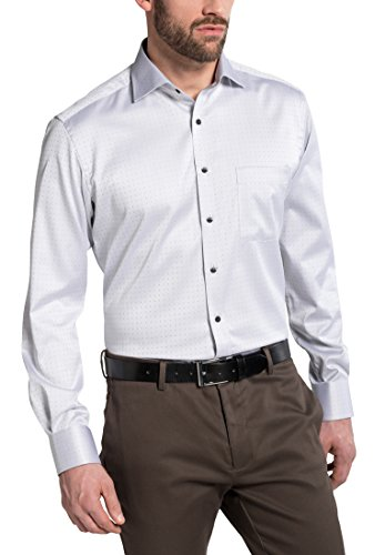 Eterna Long Sleeve Shirt Modern Fit Satin Weave Patterned Grigio