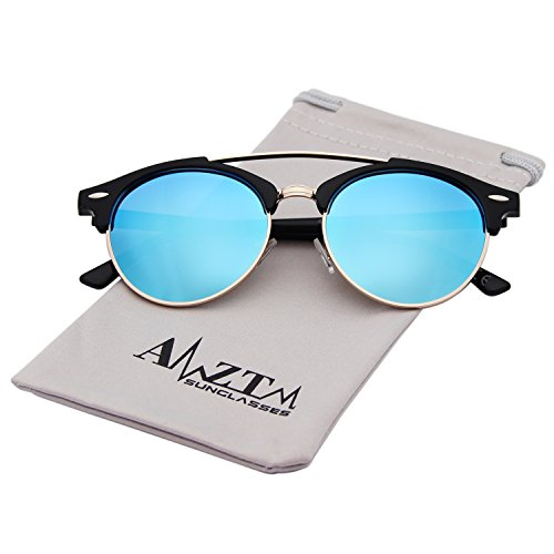 AMZTM Doppelbrücke Halbrand Klassisch Retro Brille Polarisiert Verspiegelt Rund Wayfarer Damen Herren Sonnenbrille
