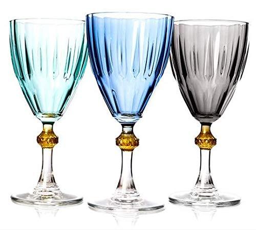 Rakle Weingläser, modern, dekorativ, einzigartig, stilvoll, Schwarz, Grün und Blau, 3 Stück